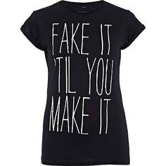 black fake it print t-shirt - print t-shirts / vests - t shirts / vests / sweats - women - River Island