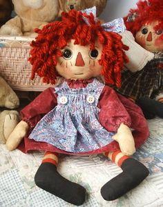 "17"" Primitive Handmade Raggedy Ann doll, by TLC!"