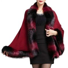 Faux Fox Fur Mixed color Poncho Coat Autumn Winter Fashion Knitted Cardigan Wool Cashmere Sweater Womens Capes and Ponchoes Cashmere Cape, Cashmere Cardigan, Cashmere Sweaters, Knit Cardigan, Poncho Coat, Knitted Poncho, Capes For Women, Cardigans For Women, Fox Fur Coat