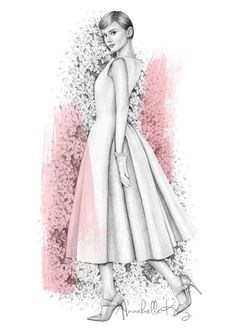 Audrey Hepburn by Annabelle King Completed using pencil and digital colouring. The original sketch is now up for sale in my BigCartel store, www.annabellesillustrations.bigcartel.com x