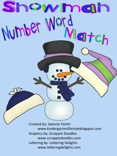 snowman word and number match
