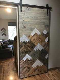 Rustic Wood Mountains Sliding Barn Door By Bayocean Rustic Design - June 15 2019 at Barn Door Designs, Interior Barn Doors, Barn Door Hardware, Rustic Design, Home Design, Interior Design, Design Ideas, Luxury Interior, Innovation Design
