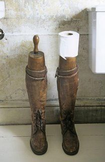 Repurposed vintage bathroom inspiration: vintage boots and Old Rolling Pins into toilet paper holders . Unique Toilet Paper Holder, Toilet Roll Holder, Pirate Bathroom, Recycled Shoes, Old Boots, Cowboy Boots, Bathroom Toilets, Bathrooms, Ways To Recycle