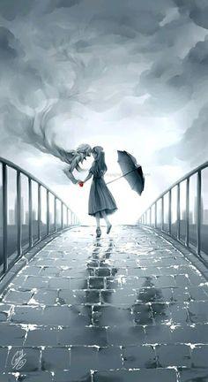 Girl in rain drawing- Digital art- Anime Manga Art, Manga Anime, Anime Eyes, Arte Obscura, Anime Kunst, Wow Art, Studio Ghibli, Anime Love, Anime Couples