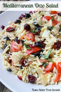 Mediterranean Orzro Pasta Salad from TastesBetterFromScratch.com One of our families favorite summer meals!