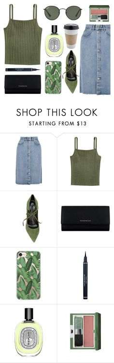 """""""Untitled #182"""" by moderockcity ❤ liked on Polyvore featuring M.i.h Jeans, Casadei, Givenchy, Casetify, Christian Dior, Diptyque, Clinique, Ray-Ban and OUTRAGE"""