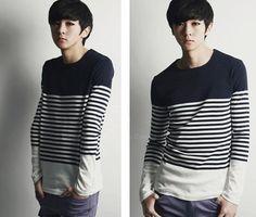 Mens New Style Korean Color Block Stripe Pattern Long Sleeve T-Shirt For Men
