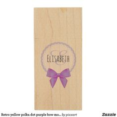 Retro yellow polka dot purple bow monogram wood flash drive