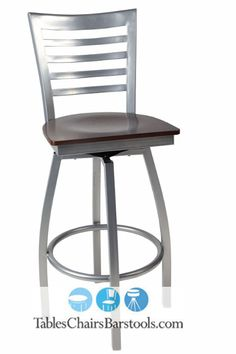 Our popular full ladder back GLADIATOR goes silver!  This silver metal swivel bar stool offers your guests the ability to move about easily while creating a contemporary look in your bar or restaurant.Product features:16-gauge steel frame with silver finishLimited lifetime warranty (frame only)Poly non-marring glidesWalnut-stained seat (please choose plywood or solid wood seat from menu above)Item Number: TCB-W-606SBS-SLV-WAL