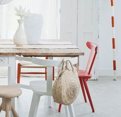 Awesome combo: distressed wood table and brand new chairs
