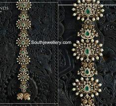 18 Carat gold jada studded with diamonds, emeralds and south sea pearls by Raj diamonds. Diamond choti designs, diamond jada for brides, bridal jada designs, hair ornaments Indian Wedding Jewelry, Indian Jewelry, Bridal Jewelry, Tikka Jewelry, Hair Jewelry, Indian Jewellery Design, Jewelry Design, Latest Jewellery, Italian Gold Jewelry