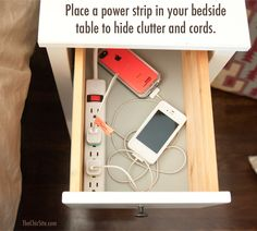 Use a Power Strip in Bedside Table to Declutter