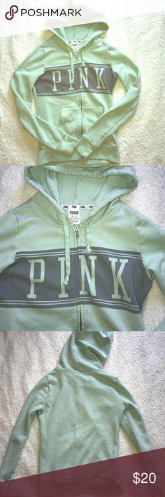 PINK zip up hoodie Mint color with gray front decal. PINK Victoria's Secret Tops Sweatshirts & Hoodies