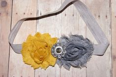 Shabby and Chic Frayed Mustard Yellow and Grey by craftmomof3, $9.95