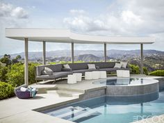 White And Gray Semicircular Pool Pavilion- ELLEDecor.com