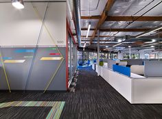 Renovation of two existing buildings at Google's Mountain View Campus to provide flexible workspace and amenities in an open ceiling environment. http://www.bcciconst.com/what-we-build/sustainable/google-1/