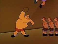 Kid Nitro handily punches away a line of sparring partners | Popeye the Sailor: Rags to Riches to Rags (1960) | Keywords: Seymour Kneitel (director)