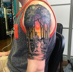 Father and daughter walking through the woods with a West Texas sunset. This was done at Freebird Tattoo in Chester NJ by Arielle. It's for my brother who passed away last year. He left a 3 year old daughter behind