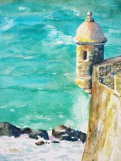 """Castillo de San Cristobal Ocean Sentry watercolor painting by Carlin Blahnik. Fort located in San Juan, Puerto Rico. Fortified walls have sentry boxes, """"garitas""""  at various points. One of the guerites at Fort San Cristobal is called """"The Devil's Guerite"""" (""""La Garita del Diablo""""). This guerites offer a vantage point to watchmen guarding the sea shore, while protecting them. This particular guerite is one of the oldest parts of the fort being built in 1634.  http://www.carlinart.com/"""