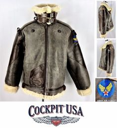 797778d8436e7e Cockpit USA 100 Mission B-3 Bomber Genuine Sheepskin Jacket 44