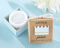 Thank your prince baby shower guests in a fresh, sweet way with Kate Aspen's crown soap party favors. Features and facts: Gift box measures w x h x d Lightly scented soap, embossed crown print on soap set in printed card stock gift box S Cheap Baby Shower Favors, Baby Favors, Soap Favors, Baby Shower Decorations For Boys, Soap Gifts, Prince Party Favors, Prince Birthday Party, Birthday Favors, Birthday Ideas