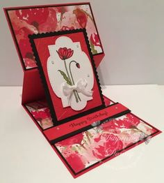Painted Poppies Reverse Easel - Impressions By Day Valentines Day Cards Handmade, Poppy Cards, Shaped Cards, Fancy Fold Cards, Easel Cards, Stamping Up Cards, Flower Cards, Homemade Cards, Making Ideas