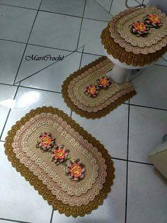 Jogo de banheiro | croche | com flores | barbante