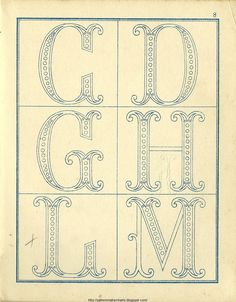 Free Easy Cross, Pattern Maker, PCStitch Charts + Free Historic Old Pattern Books: Fr - Alexandre Embroidery Alphabet, Embroidery Monogram, Hand Embroidery Patterns, Ribbon Embroidery, Embroidery Art, Embroidery Stitches, Cross Stitch Patterns, Monogram Design, Monogram Fonts