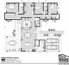 Another excellent plan. So many windows I might need sunglasses to eat breakfast. House Plans One Story, Dream House Plans, Small House Plans, Beach House Plans, Home Design Plans, Plan Design, Modern House Floor Plans, Modern Villa Design, Villa Plan
