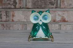 Vintage owl napkin holder blue sea green resin