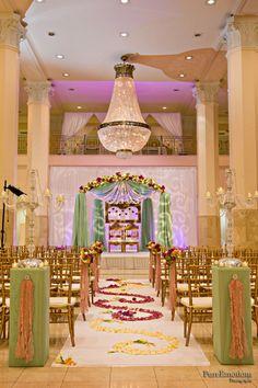Green drapery, wedding stage, chandeliers, candelabra, Suhaag Garden