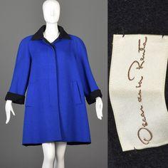 VTG 80s Oscar de la Renta Swing Coat Royal Blue Black Wool Winter Plus Size XXL #OscardelaRenta #SwingCoat