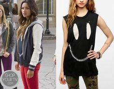 Emily Fields (Shay Mitchell) wears this zipper smiley face muscle tee in this week's episode of Pretty Little Liars. It is the UNIF Zed Zip Muscle Tee. Unfortunately it is unavailable Pretty Little Liars Seasons, Pretty Little Liars Fashion, Pll Outfits, Summer Outfits, Summer Clothes, Muscle Tees, Smiley, Shirt Dress, Emily Fields