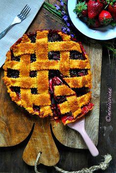 Pie de fresas balsámicas y arándanos   Cocina