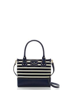 Wellesley Fabric Stripe Small Quinn in French Navy/Cream (Kate Spade)