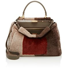 Fendi Peekaboo Shearling Satchel ($6,250) ❤ liked on Polyvore featuring bags, handbags, colorless, clear satchel, clear handbags, colorblock satchel, brown satchel handbag and satchel handbags