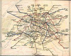 Map of Paris Metro 1949