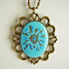Starburst Cameo Necklace Blue by Miss Atomic