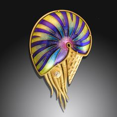 Amy Roper Lyons  Nautilus Brooch #3, via Flickr. <3<3<3GORGEOUS<3<3<3