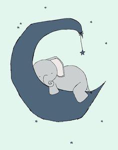 Custom Listing for Vanisha -- Nursery Art -- Baby Elephant Moon and Stars Dream -- Nursery Decor -- Children Art Print -- Q61