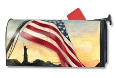 Magnet Works Mailwraps Mailbox Cover - Liberty at Sunset Design Magnetic Mail at GardenHouseFlags