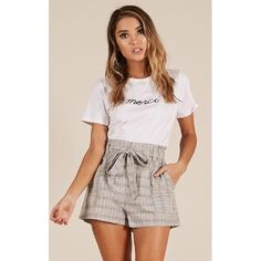 ecacb3f273d Showpo Cant Stay Away shorts in grey check - 10 (M) Shorts