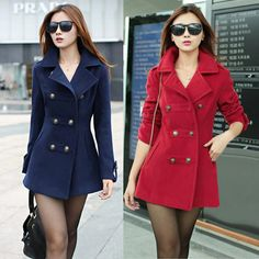 3e7770c319d42 Autumn Winter Casacos Femininos 2015 Double Breasted Overcoat Long Wool  Blends Women Coat Abrigos Mujer Red