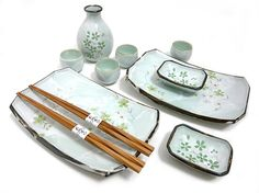 Cherry Blossom - Spring Green Sushi and Sake Set
