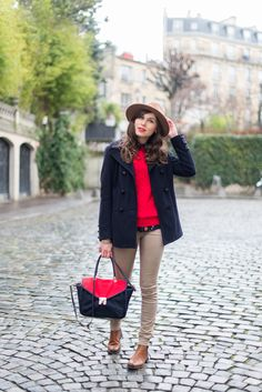 Mode And The City - Montmartre, Paris. Red, navy and preppy.