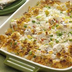 Potluck Chicken Casserole This is one of our favorite meals. I leave out the mushrooms for hubby and make sure the cornflakes cover the whole top of the casserole. Recently I also began using olive oil mayo (less calories) and it didn't change the taste one bit. This casserole is yummy!