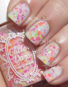 from GlitterDaze: Lei It On Me is a mix of purple, pink, orange, green and yellow neon glitter in a milky white base.