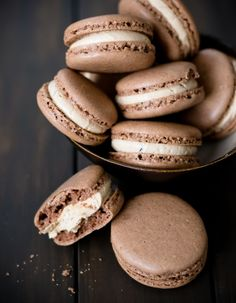 chocolate macarons with coffee buttercream! probably the best macaron recipe i've ever seen. love the tips for getting the best cookie shell possible.