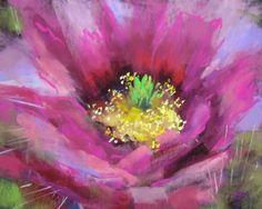 Cactus Bloom pastel, painting by artist Karen Margulis Pastel Artwork, Oil Pastel Drawings, Pastel Paintings, Pastel Flowers, Abstract Flowers, Veggie Art, Pastel Crayons, Chalk Pastels, Oil Pastels
