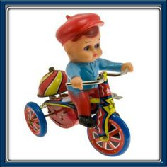 Metal Wind Up Toys   Tin Metal Wind Up Toy Boys Tricycle Rider w Box   eBay